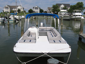 Our Pontoon Rental Boat is 21' long with a 90HP Yamaha engine