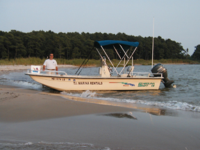 Our entry level Carolina Skiff Rental Boats are 19' with 60HP Yamaha's